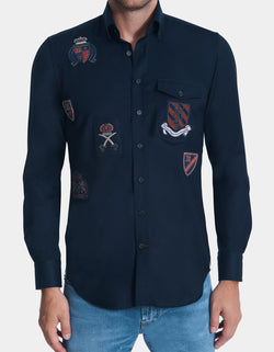 LUXURY WOOL SOLID NAVY BUTTON DOWN SHIRT WITH PATCHES