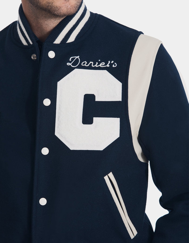 "VARSITY JACKET WITH LEATHER TRIM & LETTER ""C"""