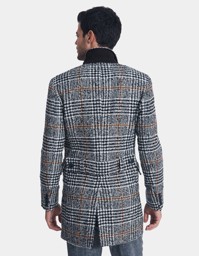 GLEN CHECK DOUBLE BREASTED WOOL OVERCOAT