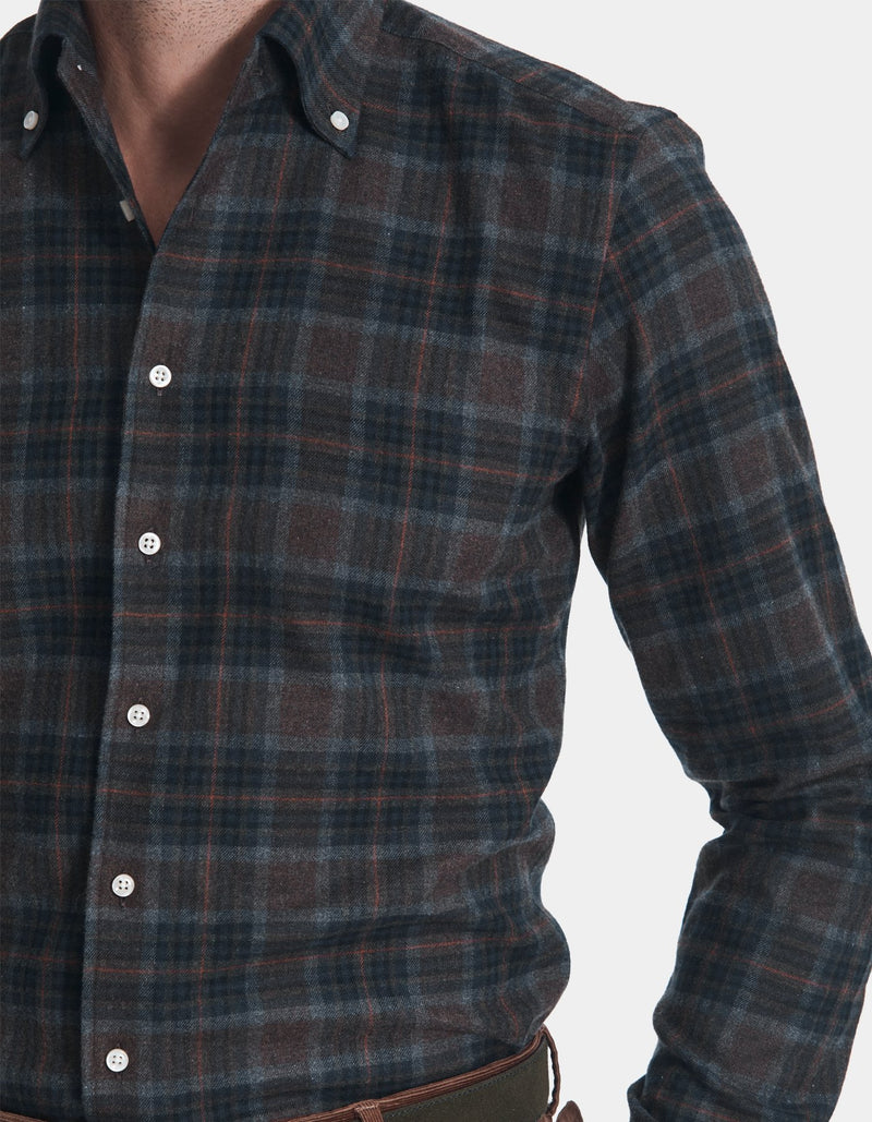 LUXURY FLANNEL CHECK ONE PIECE BUTTON DOWN COLLAR SHIRT