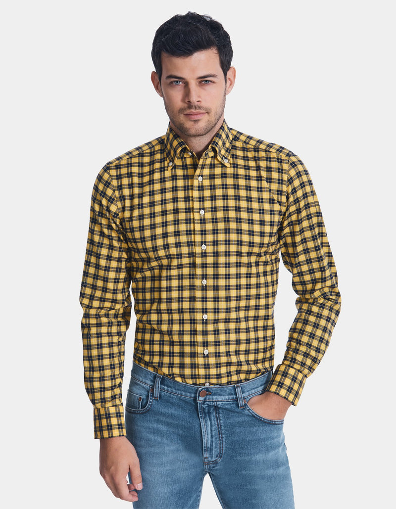 LUXURY FLANNEL CHECK ONE PIECE BUTTON DOWN COLLAR