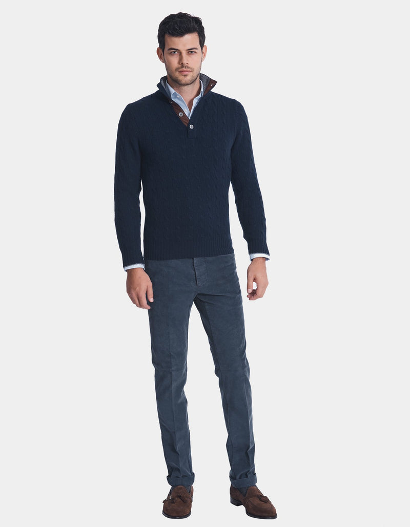 LORO PIANA CASHMERE CABLE BUTTON UP SWEATER
