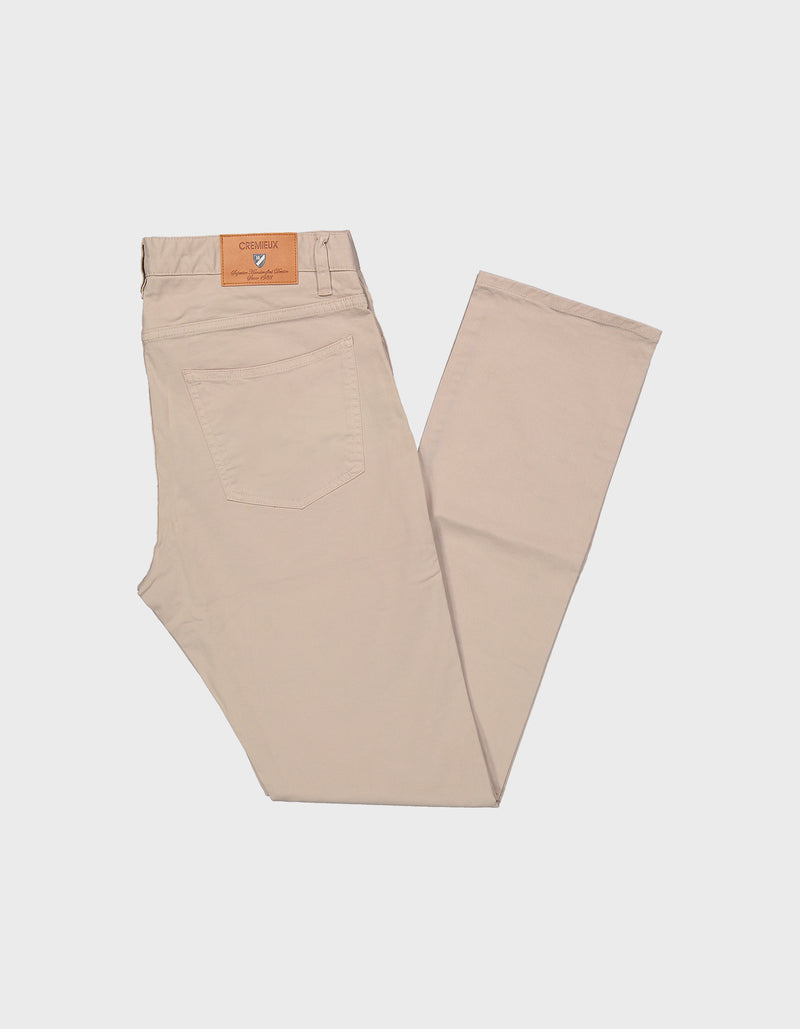 MILAN 5 POCKET GARMENT DYE STRETCH COTTON PANTS