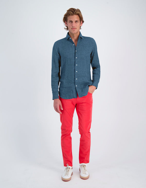 LAPO INDIGO CHAMBRAY ONE PIECE SPREAD COLLAR SHIRT