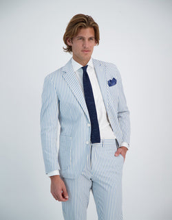 FREETIME COTTON SEERSUCKER STRIPE BLAZER
