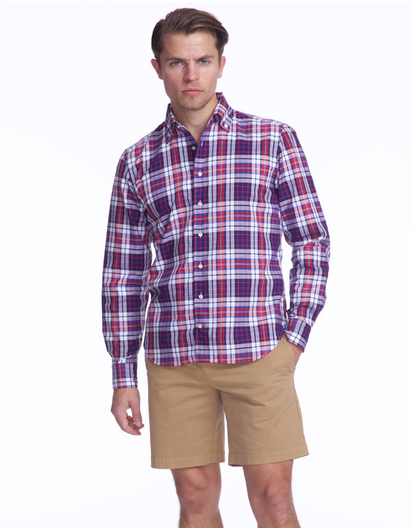 PANAMA PLAID RED BLUE 100% COTTON SHIRT