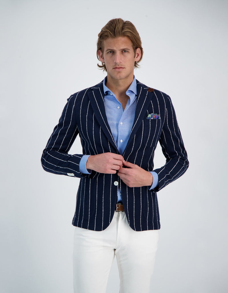 FREETIME STRETCH COTTON PIQUE KNIT PINSTRIPE BLAZER