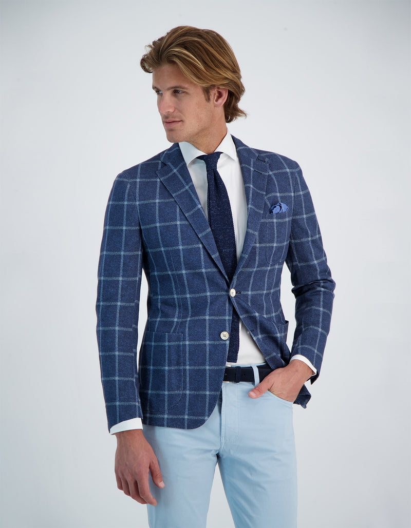 FREETIME LINEN COTTON KNIT WINDOWPANE BLAZER