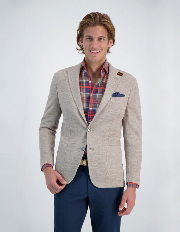FREETIME LINEN COTTON KNIT HEATHER BLAZER