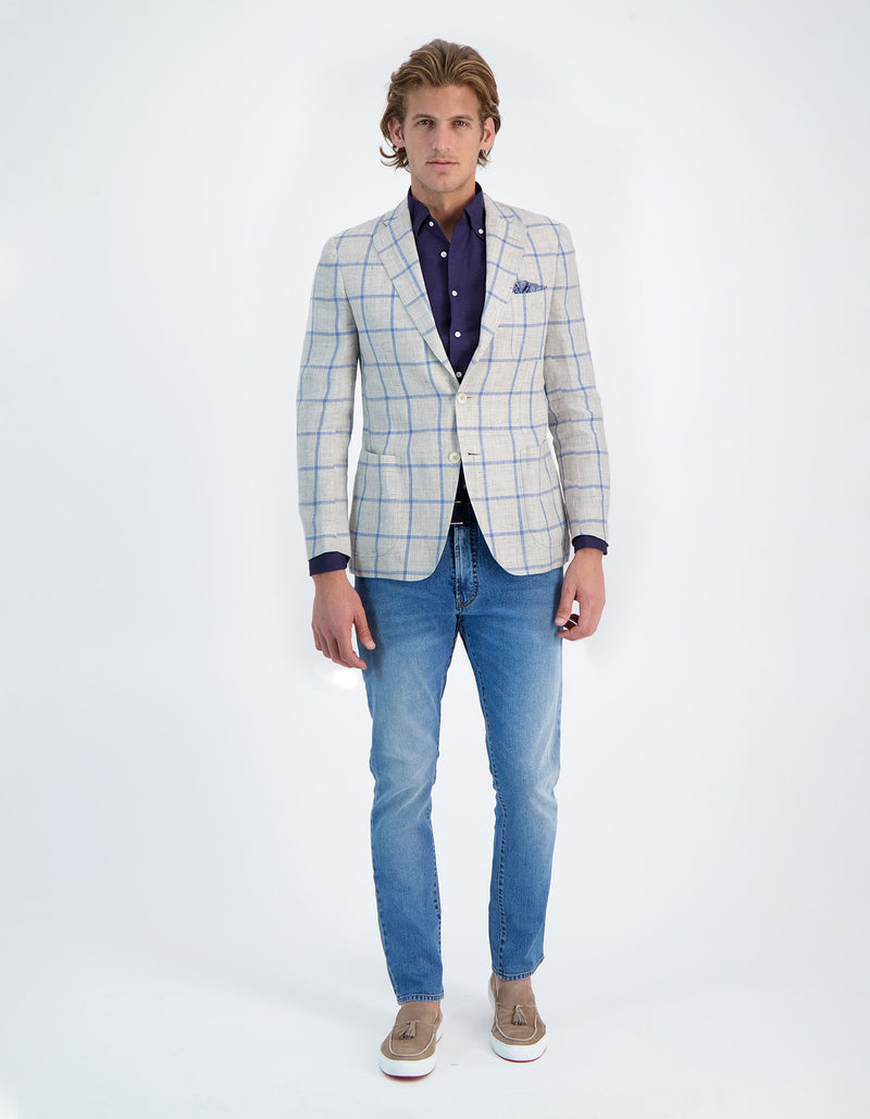 FREETIME ECRU BLUE LINEN WINDOWPANE BLAZER