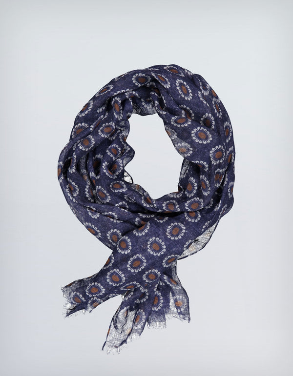 BRUNATE LINEN LARGE DAISY PRINT SCARF