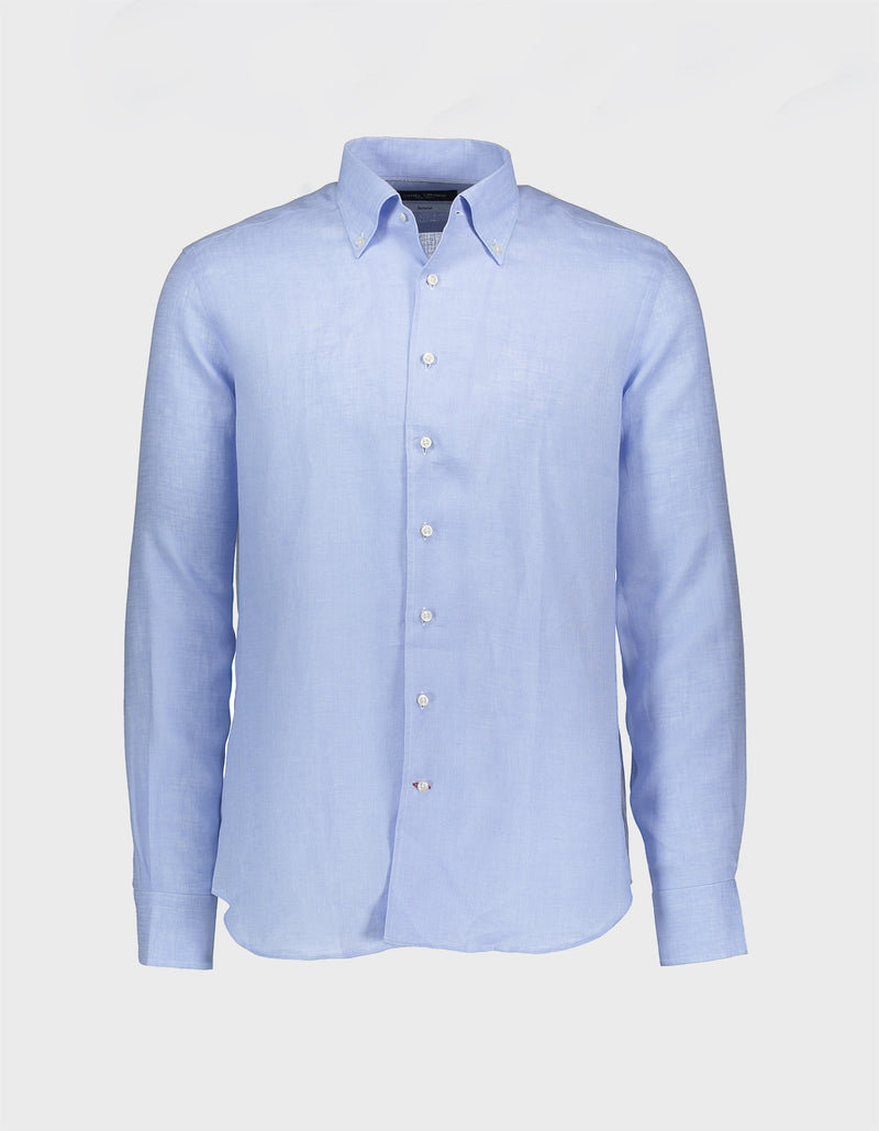 MONCEAU LUXURY SOLID LINEN ONE PIECE BUTTON DOWN COLLAR SHIRT