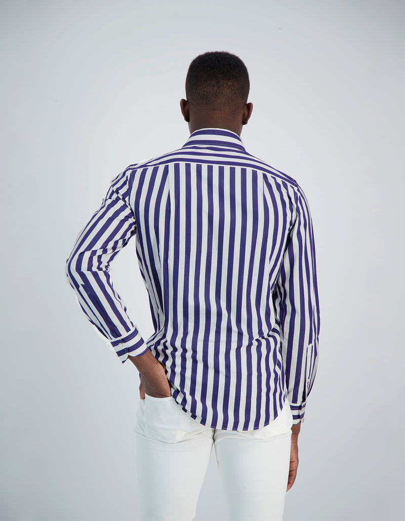 LAPO LUXURY SOFT POPLIN VERTICAL STRIPE ONE PIECE SPREAD COLLAR SHIRT