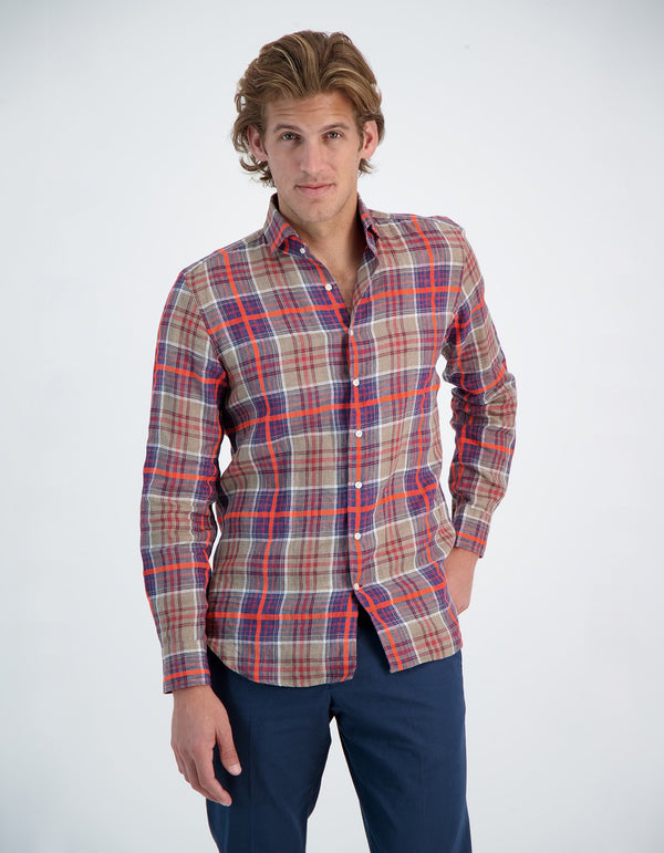 LAPO LUXURY SOFT FLUO LINEN PLAID ONE PIECE SPREAD COLLAR SHIRT