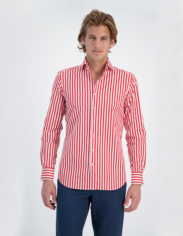 LAPO LUXURY POPLIN STRIPE ONE PIECE SPREAD COLLAR SHIRT