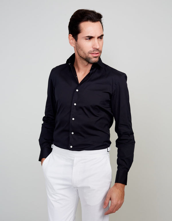 BLACK LUXURY SOLID STRETCH POPLIN ONE PIECE SPREAD COLLAR SHIRT