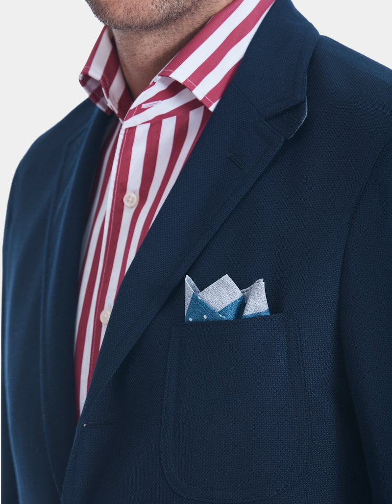 OCEAN HOPSACK TROPICAL WOOL BLAZER