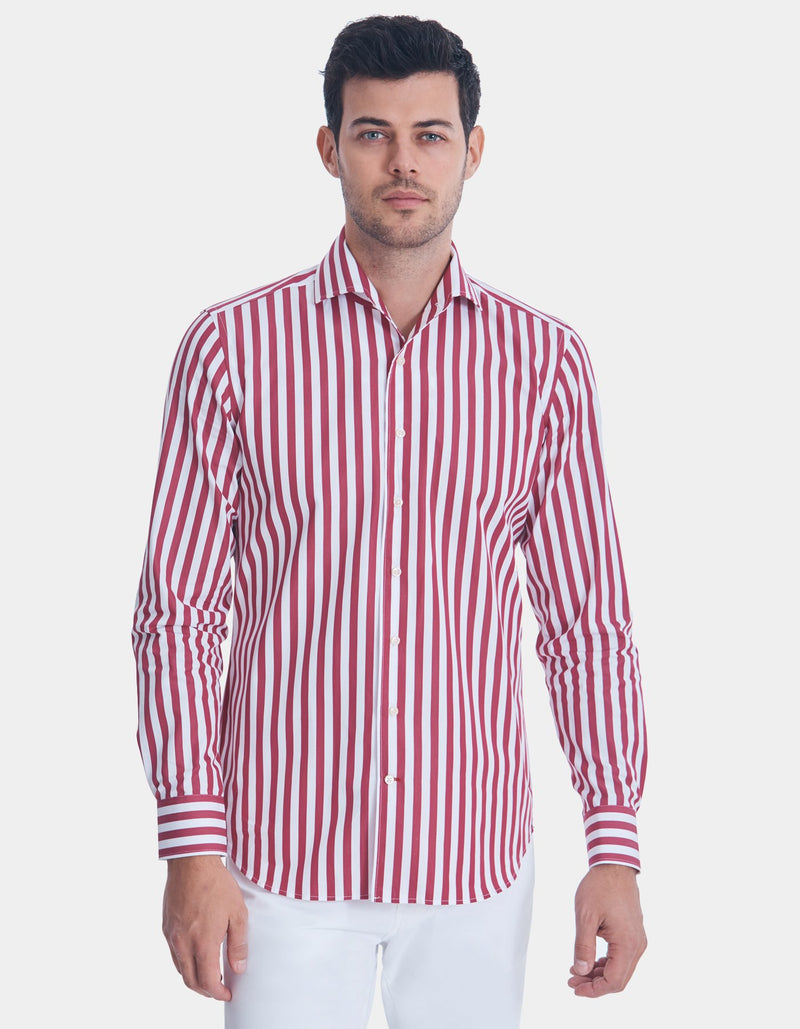 LUXURY POPLIN STRIPE SPREAD COLLAR SHIRT