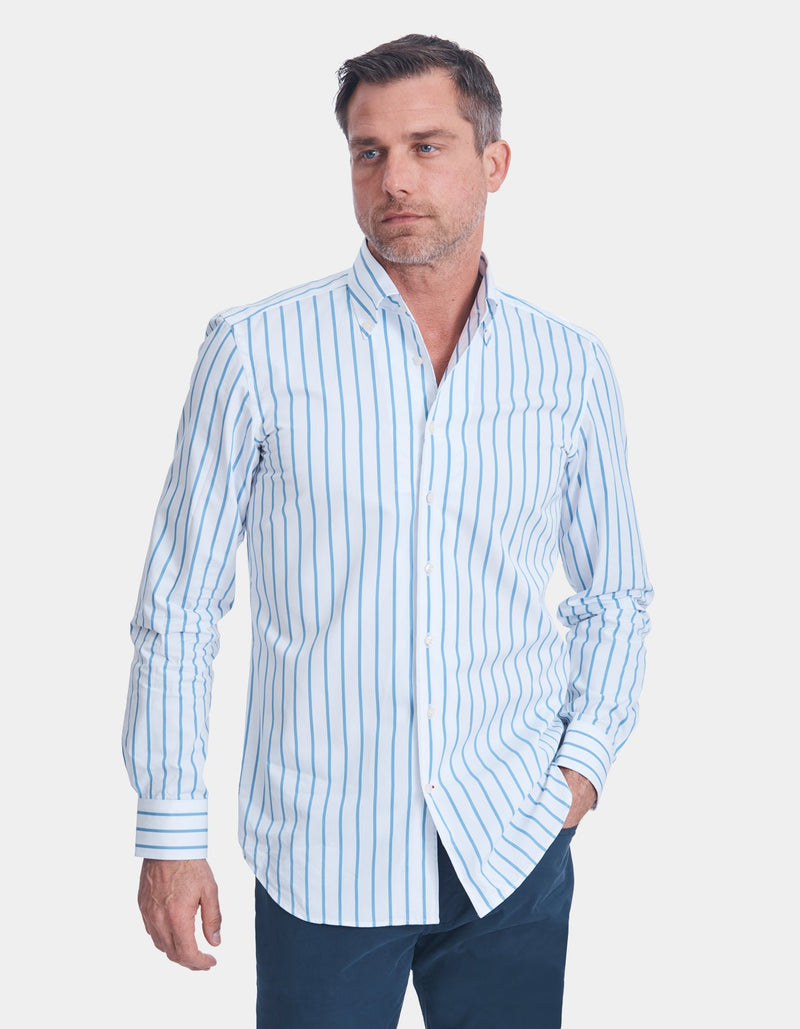 LUXURY POPLIN STRIPE ONE PIECE BUTTON DOWN COLLAR SHIRT