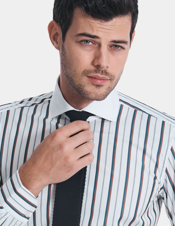 LUXURY POPLIN MULTI STRIPE SPREAD COLLAR SHIRT