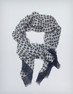 BRUNATE LINEN SQUARE DOT PRINTED SCARF