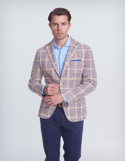 FREETIME LINEN BLEND YELLOW PLAID BLAZER