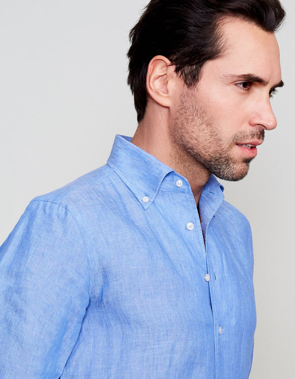 BLUE WASHED SOLID LINEN BUTTON DOWN COLLAR SHIRT