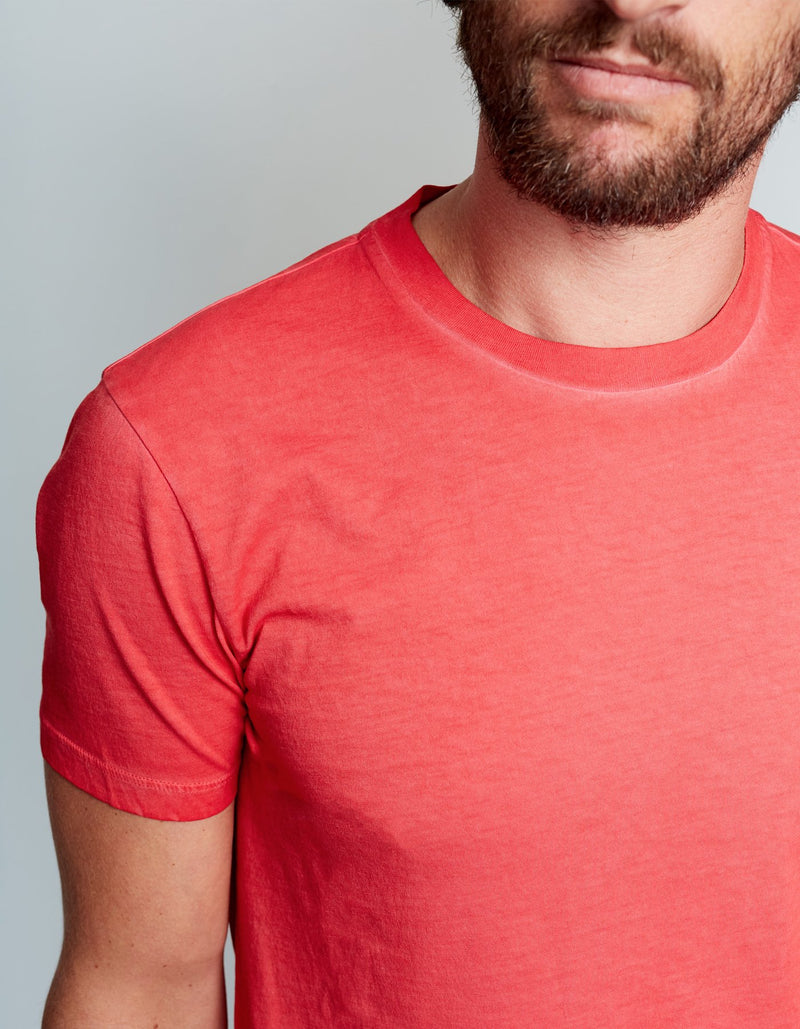 T-SHIRT EN COTON GARMENT DYED ROUGE