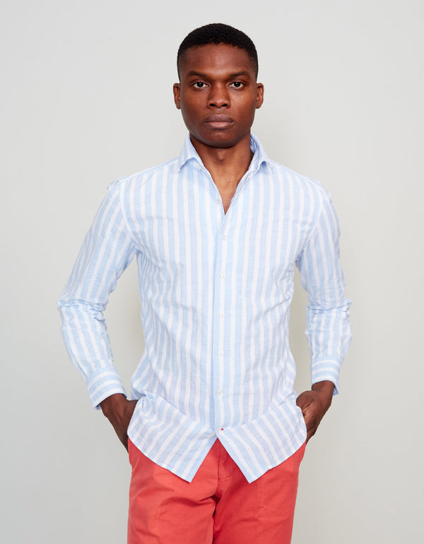 CHAMBRAY STRIPED BUTTON DOWN COLLAR SHIRT