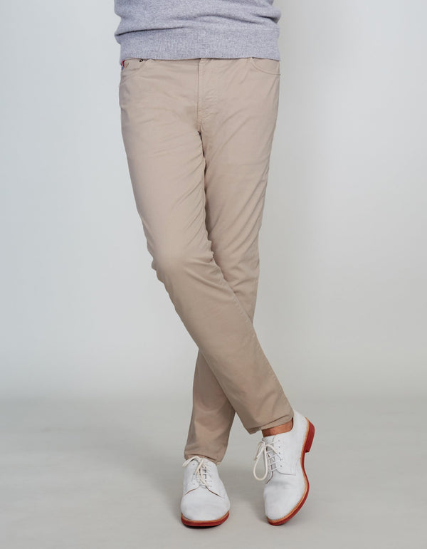 KHAKI COTTON STRETCH PANTS