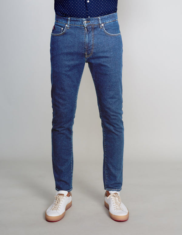 LIGHT BLUE RINSED DENIM JEANS