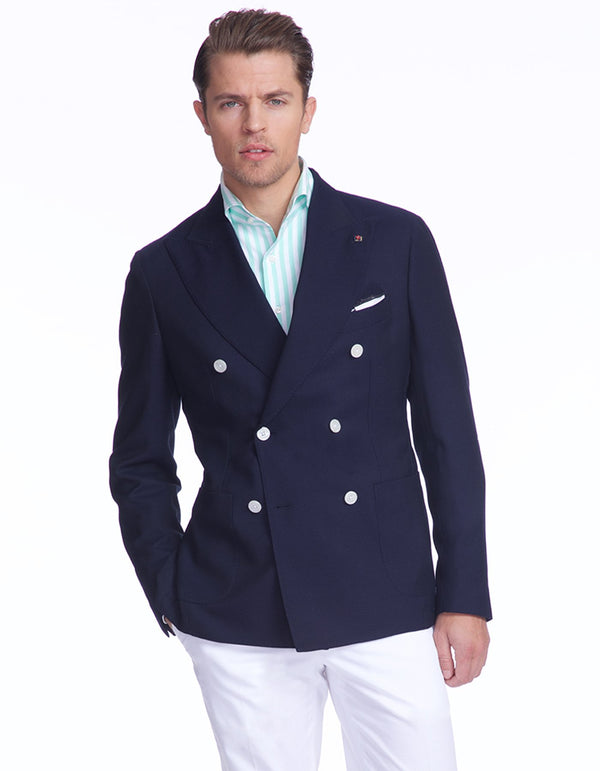 WOOSTER HOPSACK DOUBLE BREASTED BLAZER