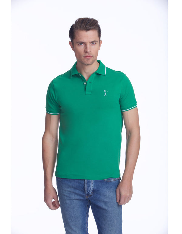 NICK PIQUE POLO WITH EMBROIDERED ICONIC LOGO