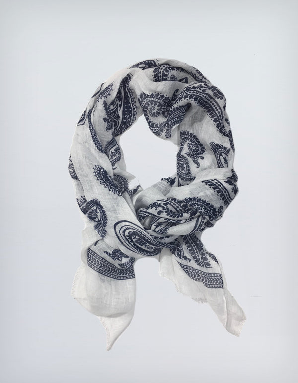 BRUNATE LINEN LARGE PAISLEY PRINT SCARF