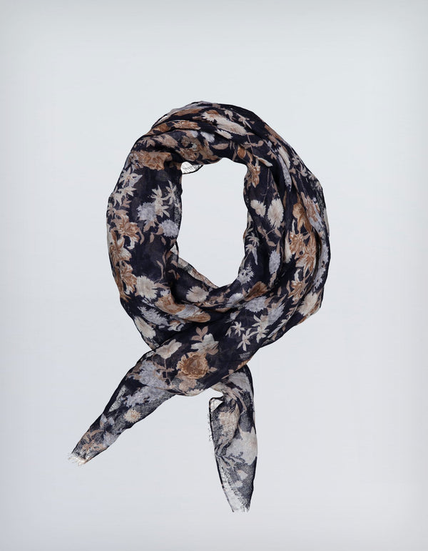 BRUNATE LINEN LARGE FLOWER PRINTED SCARF