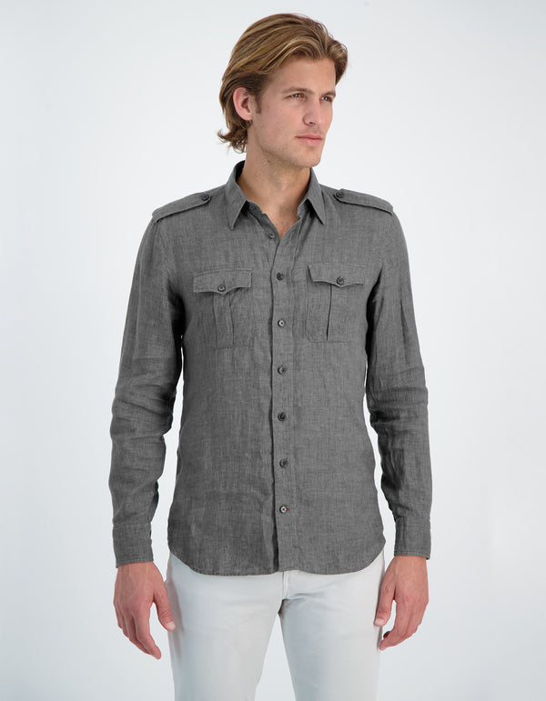 SARGENT LUXURY SOFT LINEN MILITARY SHIRT