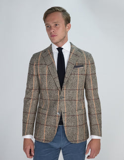BLAZER À CARREAUX MARRON ALPAGA