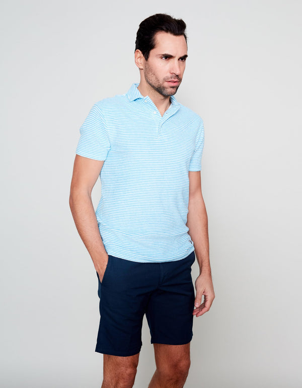 POLO TERRY TURQUOISE À RAYURES