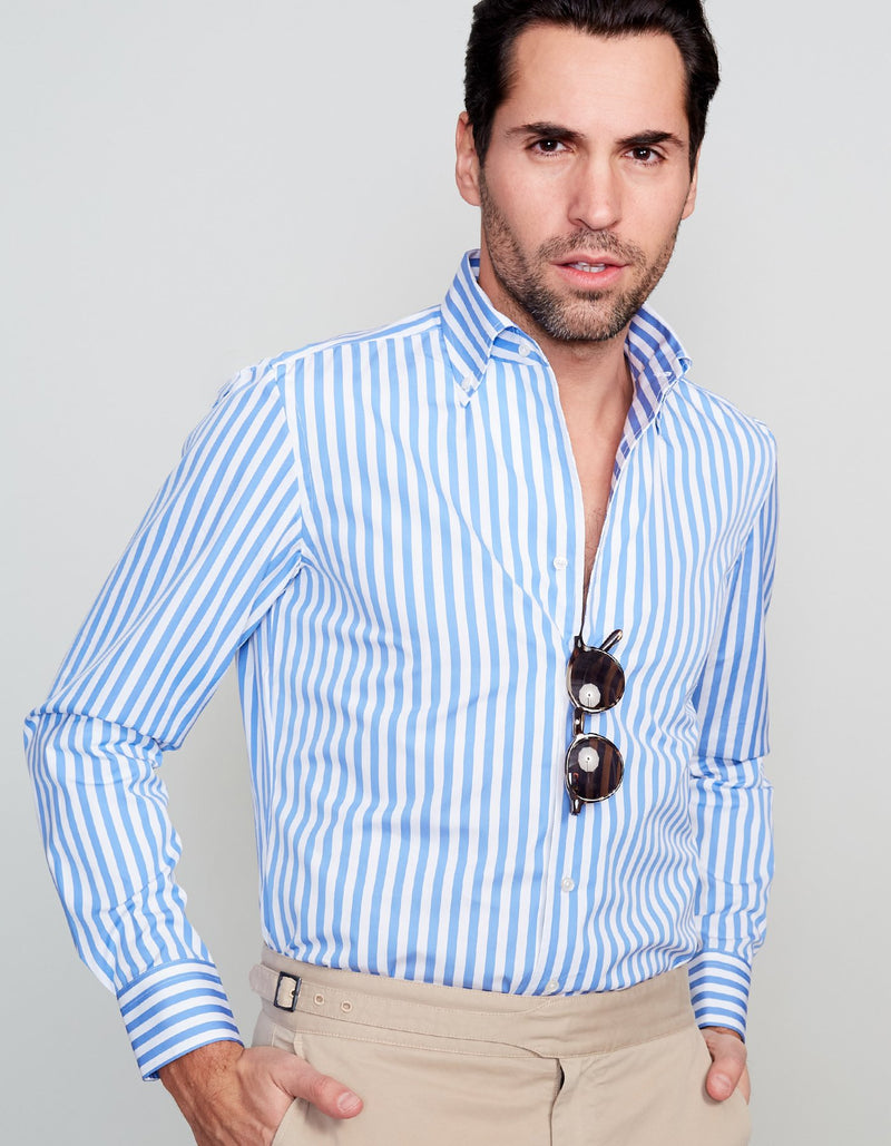 POPLIN STRIPE SPREAD COLLAR SHIRT