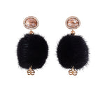 Black Queen Crystal Mink Earrings