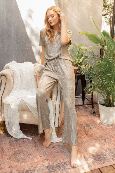 Mystree Shimmery Metallic Lounge Pants