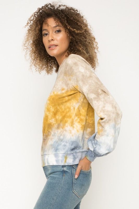 Mystree Tie Dye Balloon Sleeve Terry Pullover