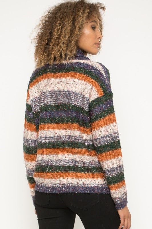 Mystree Turtle Neck Multi Stripe Sweater