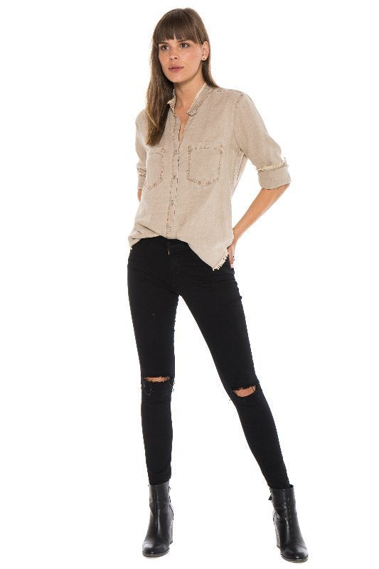 Bella Dahl Frayed Button Down