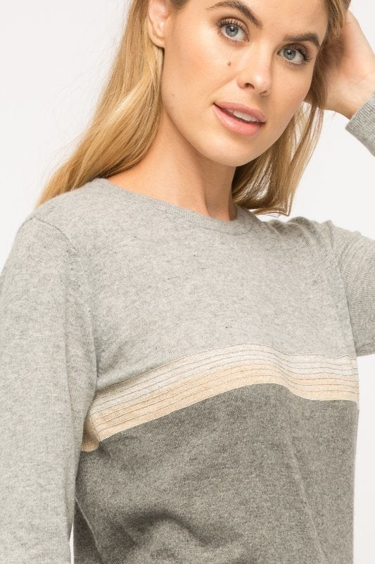 Mystree Metallic Stripe Sweater