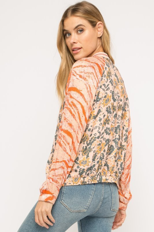 Mystree Light Weight Multi Print Bomber Jacket