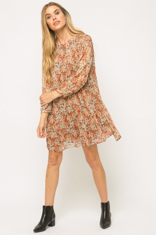 Mystree Foil-on Print Pleated Dress