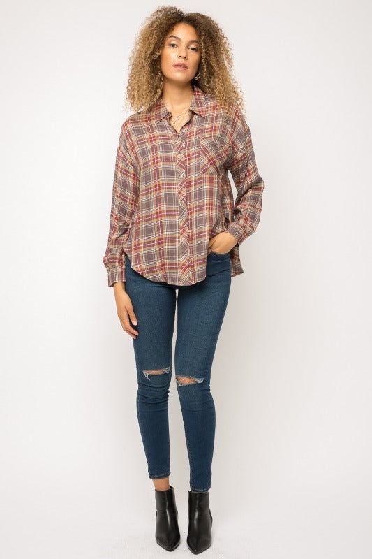 Mystree Mustard Plaid Button Down Top