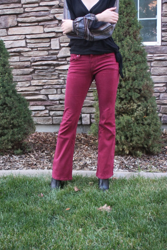 Kancan Mid Rise Cherry Mahogany Bootcut 32 inseam