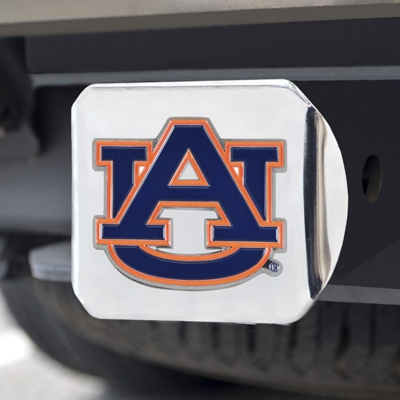 Chrome and team color hitch cover